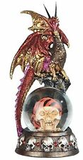 "7.75"" Red and Yellow Dragon on Pirate Skull Snow Globe Decorative Statue Fantasy"