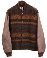 VTG Woolrich Made in USA Wool Navajo Indian Aztec Leather Bomber Jacket L