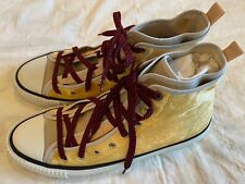 LANVIN High Top Yellow Velvet Double Layer Chuck Mens Sneakers. Size 10