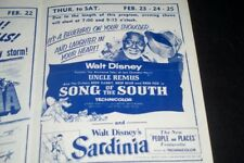 Vintage 50s Movie Flyer Disney Song South Lone Ranger