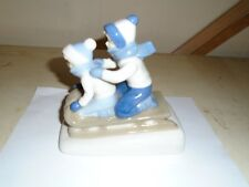 Vintage Porcelain Children Sledding Figurine Made In Mexico 1992