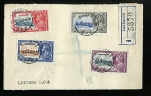 Barbados KGV 1935 Silver Jubilee SG241/4 used on registered FDC