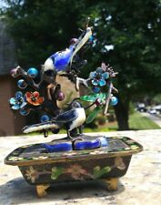 Chinese Cloisonne birds and enamel  silver jardiniere with blue Birds.