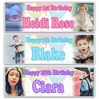 2 Personalised Birthday Banner Photo Children Baby Adult Party Poster Decoration