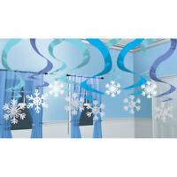 Winter wonderland Christmas Frozen Snowflake Foil Swirls Ceiling Decoration x 15