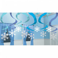 Winter wonderland Christmas Frozen Snowflake Foil Swirls Ceiling Decoration x 15
