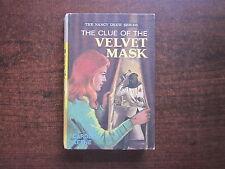 THE CLUE OF THE VELVET MASK by Carolyn Keene Nancy Drew 1974 HC Book #33
