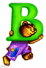 "3.5"" SILLY ANIMAL ALPHABET ABC'S LETTER B BEAVER FABRIC APPLIQUE IRON ON"