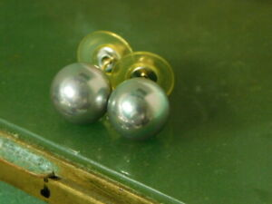 Yellow Gold Tone Grey  Pearl 11 mm Round Earring