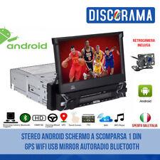 STEREO ANDROID SCHERMO A SCOMPARSA 1 DIN GPS WIFI USB MIRROR AUTORADIO BLUETOOTH
