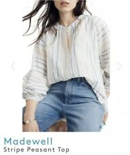 New..! Madewell Women's Shimmer Stripes Peasant Top Long Sleeve Blouse Size M