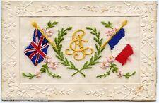 Carte postale Brodée . Patriotique . France / Angleterre .Embroidered .Patriotic