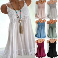 Ladies Lace Camisole Cami Flared Skater Womens Strappy Vest Top Swing Mini Dress