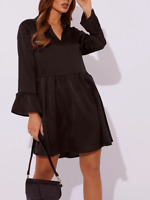 In The Style BLACK SATIN PLUNGE SMOCK DRESS BNWT Size UK 8