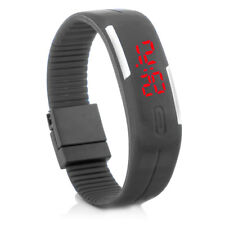 Digital Silikon LED Armband Uhr Armbanduhr Watch Herren Damen Kinder Grau Sport