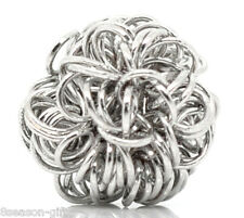 """30PCs Beads Silver Tone Wire Coiled 10mm(3/8"""") Dia"""