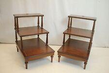 George III Regency Mahogany Pair of Three Tread  Bed Library Steps End Table