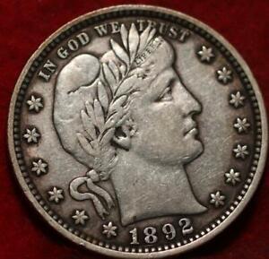 1892  Philadelphia Mint Silver Barber Quarter