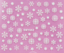 Christmas WHITE Snowflakes Glittery Xmas 3D Nail Art Sticker Decals UV SMY052