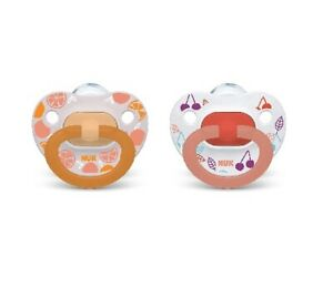 Nuk Baby Girl 2-Pack Orthodontic Pacifiers Clear/Orange Fruit Size 6-18M