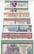 EGYPT 25 50 PT 1 5 10 20 EGP 1971 1978 P-42 43 44 45 46 47 48 SET OF 7 LOT UNC