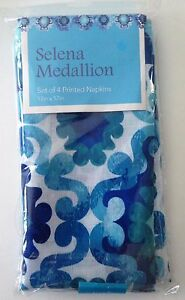 Set of 4 Printed Fabric Napkins Selena Medallion Blues White 17 x 17 Inch NWT