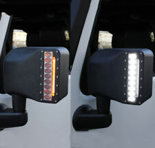 Xprite Side View Mirrors w/ Led Turn Signal Light for 07-18 Jeep Wrangler Jk Jku