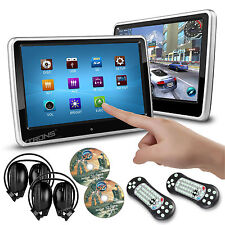 "2x Car Headrest Active Monitor 10.1"" Touch Screen Dual DVD Player Game Headphone"