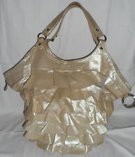 OROTON Large Gold Leather Tote with Ruffled Front