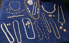 HUGE !! Lot of Vintage Faux Pearl Jewelry, Necklaces, Earrings, Bracelet, more