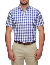 NEW Nautica Short Sleeve Plaid Shirt Blue
