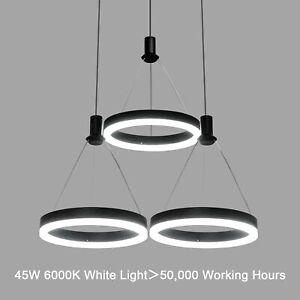 Modern LED Pendant Ceiling Lighting Fixture Dimmable Black Chandelier 3-Rings