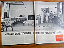 1957 Monsanto Chemistry in Action Ad  Creates Bright New Easy Living Room