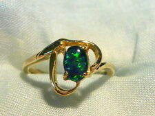 Ladies Opal Ring 14ct Yellow Gold Claw Set 6x4 mm Triplet Opal. Item 60072.