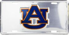 University of Auburn Tigers Chrome Metal Car License Plate Auto Tag Sign