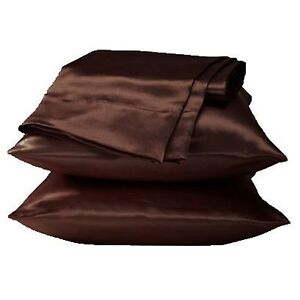 2 Standard / Queen size SATIN Pillow Cases / Covers DARK COFFEE - Brand New