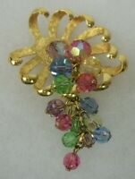 Vtg Park Lane Gold Tone Costume Jewelry Pin Brooch Pastel Iridescent Glass Beads