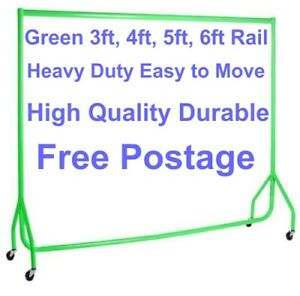 HEAVY DUTY Clothes Rails GREEN 3ft,4ft,5ft,6ft Garment Hanging Shop Displays🔥