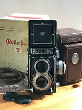 Rolleiflex T vintage 6x6 camera, lens Zeiss Tessar 3.5/75 & box and leather case
