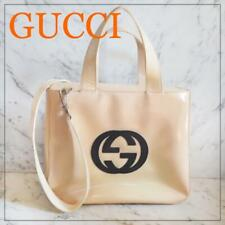 Authentic Gucci Shoulder Bag Handbag GG Patent Leather USED Vintage White G0534