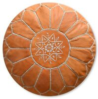Moroccan Leather Pouf Sand Brown - Delivered Stuffed, Ottoman, Footstool