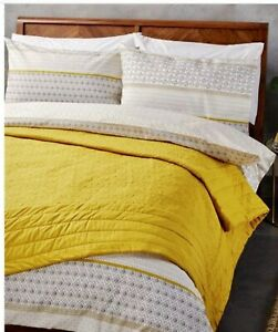 Bedspread John Lewis Isana Embroider Quilted Side Mustered Yellow Large Size Bed
