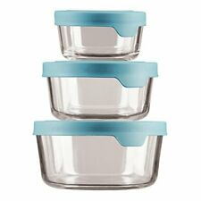 Anchor Hocking TrueSeal Glass Food Storage Containers with Mineral Blue Airtight