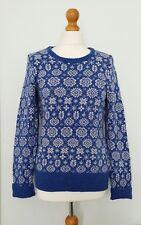 H & M L.O.G.G  Blue White Snowflake Pattern Jumper Contains Angora Size EUR M
