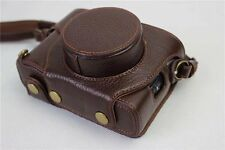 Retro Genuine Leather Camera Bag Case W Strap For Fuji Fujifilm X100F Dark Brown
