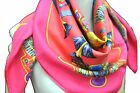 """Authentic HERMES Carre 90 Scarf """"Egypte"""" Silk Pink Red D6459"""