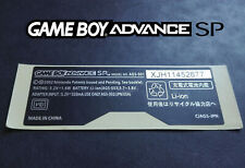Etiquette Arrière / Back Sticker AGS-001 Autocollant Game Boy Advance SP GBA SP