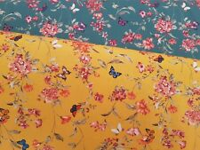 PINK BLOSSOM & BUTTERFLY BY JOHN LOUDEN - 100% COTTON DIGITAL PRINT FABRIC