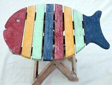 Wooden muti coloured fish shaped table with distressed finish