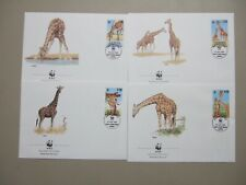 Set of four Kenya GIRAFFE WWF fdc